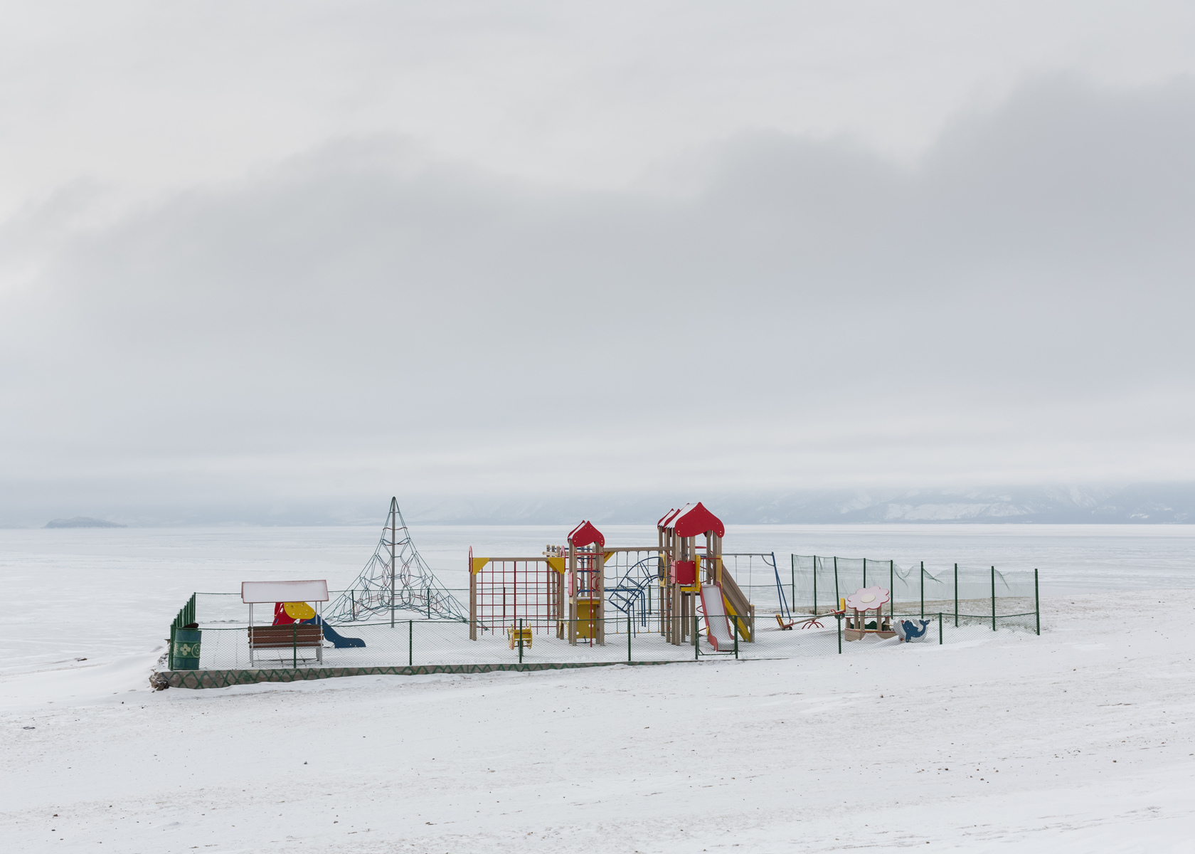Playground on the bank of Baikal on the edge of the island of Olkhon